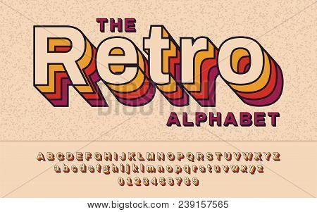Retro Font 90's, 80's. With Vhs Effect, Vector Abc Alphabet