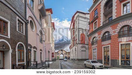 Sochi, Russia-january 3, 2017: Street In Ski Resort Of Gorki Gorod.