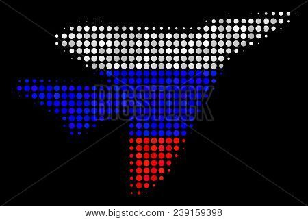 Halftone Airplane Intercepter Pictogram Colored In Russia State Flag Colors On A Dark Background. Ve