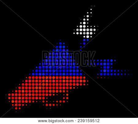 Halftone Alert Megaphone Pictogram Colored In Russian Official Flag Colors On A Dark Background. Vec