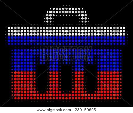 Halftone Analysis Pictogram Colored In Russian Official Flag Colors On A Dark Background. Vector Com