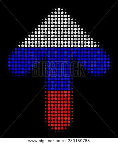 Halftone Arrow Direction Icon Colored In Russian State Flag Colors On A Dark Background. Vector Mosa