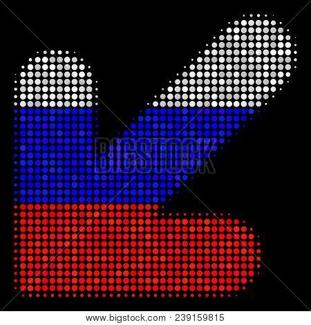 Halftone Arrow Down Left Icon Colored In Russian Official Flag Colors On A Dark Background. Vector C