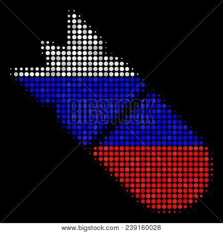 Halftone Aviation Bomb Icon Colored In Russia Official Flag Colors On A Dark Background. Vector Coll