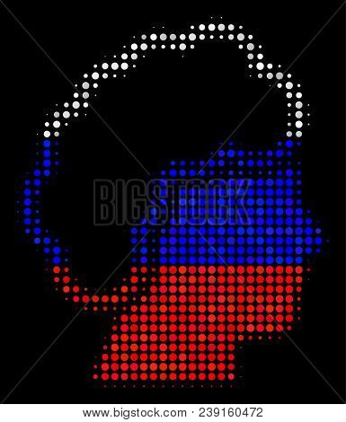 Halftone Blonde Profile Pictogram Colored In Russia Official Flag Colors On A Dark Background. Vecto