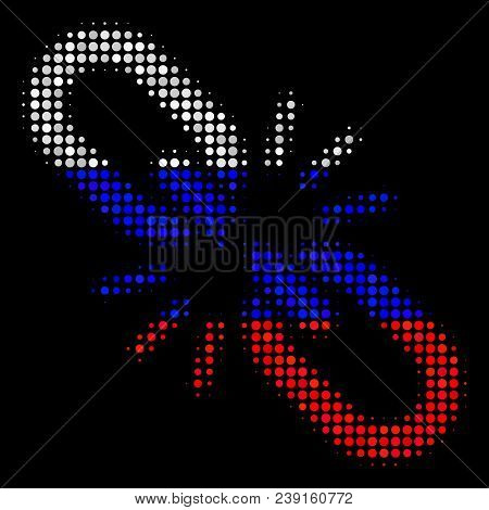 Halftone Break Chain Link Icon Colored In Russia Official Flag Colors On A Dark Background. Vector C