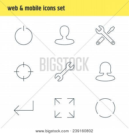 Vector illustration of 9 user icons line style. Editable set of power button, screenshot, reload and other icon elements. poster