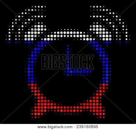 Halftone Buzzer Pictogram Colored In Russia Official Flag Colors On A Dark Background. Vector Mosaic