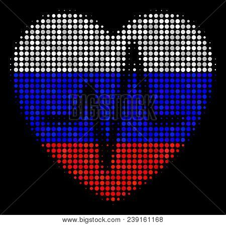 Halftone Cardiology Pictogram Colored In Russian Official Flag Colors On A Dark Background. Vector M