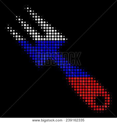 Halftone Cultivator Rake Pictogram Colored In Russian Official Flag Colors On A Dark Background. Vec