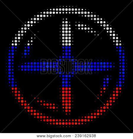 Halftone Drone Screw Rotation Icon Colored In Russian State Flag Colors On A Dark Background. Vector