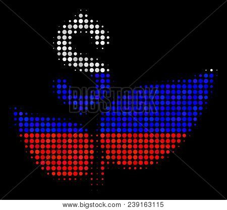 Halftone Eco Startup Icon Colored In Russia State Flag Colors On A Dark Background. Vector Mosaic Of