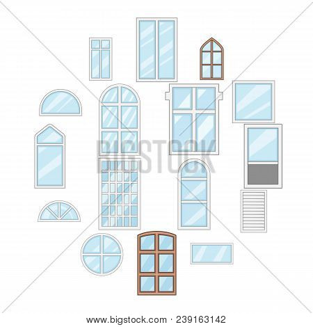Window Design Types Icons Set. Cartoon Illustration Of 16 Window Design Types Vector Icons For Web