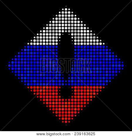 Halftone Error Pictogram Colored In Russia Official Flag Colors On A Dark Background. Vector Mosaic
