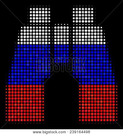 Halftone Find Binoculars Icon Colored In Russian State Flag Colors On A Dark Background. Vector Coll