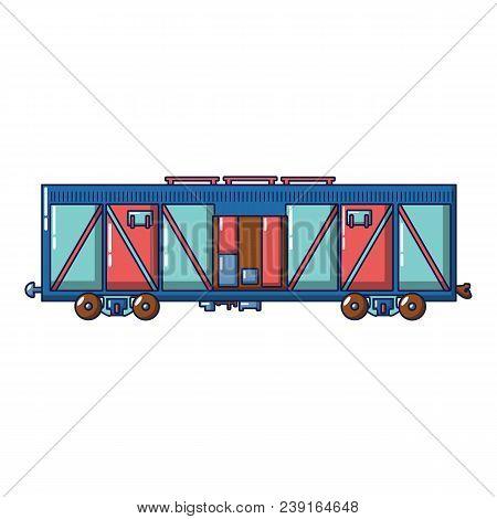 Cargo Train Wagon Icon. Cartoon Of Cargo Train Wagon Vector Icon For Web Design Isolated On White Ba