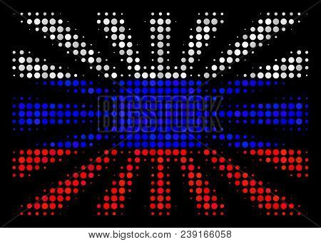 Halftone Japanese Rising Sun Icon Colored In Russia State Flag Colors On A Dark Background. Vector M