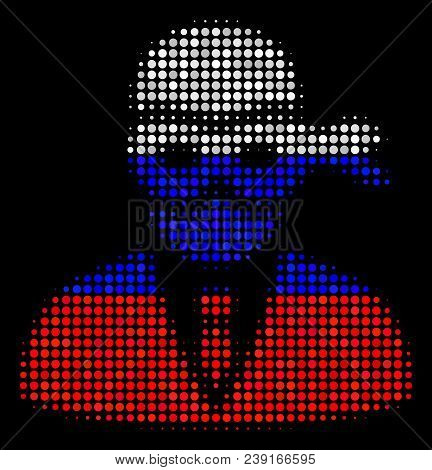Halftone Masked Thief Icon Colored In Russian Official Flag Colors On A Dark Background. Vector Mosa