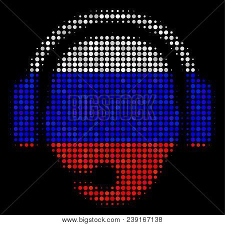 Halftone Operator Head Icon Colored In Russian State Flag Colors On A Dark Background. Vector Mosaic