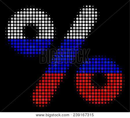 Halftone Percent Pictogram Colored In Russia Official Flag Colors On A Dark Background. Vector Patte