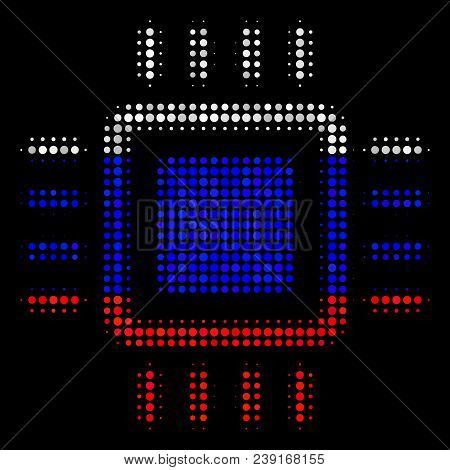 Halftone Processor Pictogram Colored In Russian Official Flag Colors On A Dark Background. Vector Co