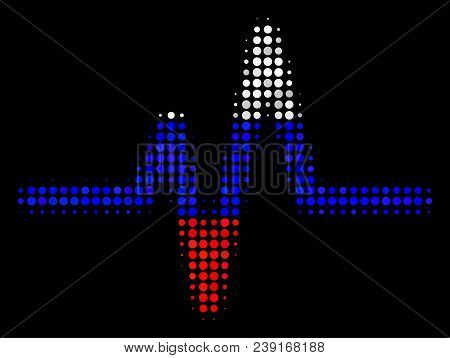 Halftone Pulse Icon Colored In Russian Official Flag Colors On A Dark Background. Vector Composition