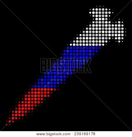 Halftone Screw Pictogram Colored In Russian Official Flag Colors On A Dark Background. Vector Concep