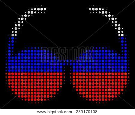 Halftone Spectacles Pictogram Colored In Russian State Flag Colors On A Dark Background. Vector Comp