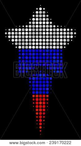 Halftone Starting Star Icon Colored In Russian Official Flag Colors On A Dark Background. Vector Pat