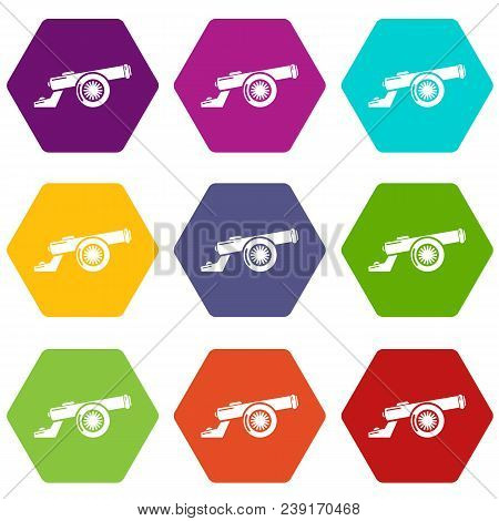 Cast-iron Cannon Icons 9 Set Coloful Isolated On White For Web