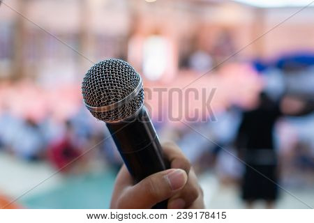 Seminar Conference Concept : Hands Holding Businesspeople Speech Or Speaking With Microphones In Sem