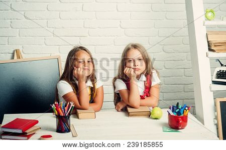 School Time Of Girls. Back To School And Home Schooling. Little Girls Eat Apple At Lunch Break. Frie