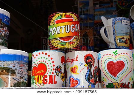 Silves, Portugal - June 10, 2017 - Colourful Ceramic Mugs For Sale, Silves, Portugal, Europe, June 1