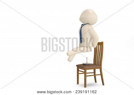 A Character Sitting On Pushpin Chiar.3D Illustration.