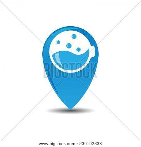 Map Pin Like Laundry Service Logo. Concept Of Professional Agency, Tide, Washhouse, Client Support,