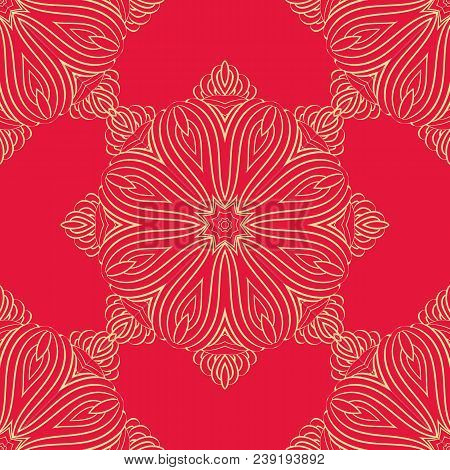Vector Seamless Pattern Mandala Print.gold Ornament On A Red Background.vintage Decorative Elements.
