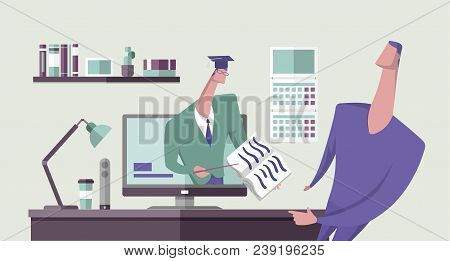 Scholar Showing A Book To Another Man From Computer Monitor In Office Interior. Online Education. Di