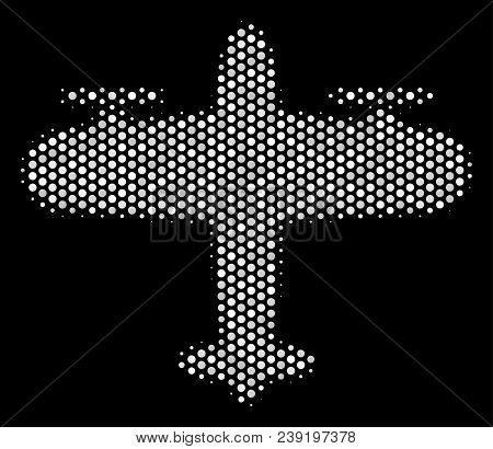 Pixel White Aircraft Icon On A Black Background. Vector Halftone Concept Of Aircraft Pictogram Combi