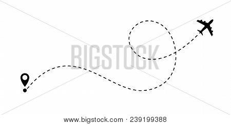 Airplane Path Vector Air Plane Route Line