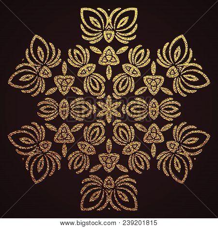 Gold Decorative Flower Mandala. Golden Vintage, Ethnic Element. Oriental Pattern, Vector Illustratio