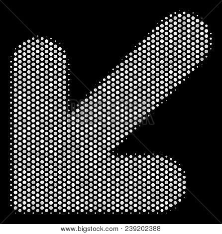 Pixelated White Arrow Down Left Icon On A Black Background. Vector Halftone Mosaic Of Arrow Down Lef