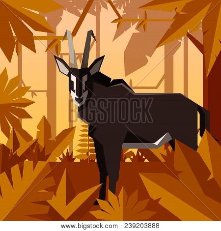 Vector Image Of The Flat Geometric Jungle Background With Sable Antelope