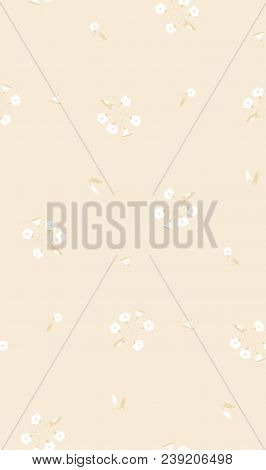 Decorative Seamless Pattern For Wallpaper From The White Wild Flowers Bindweeds In Beige Tints