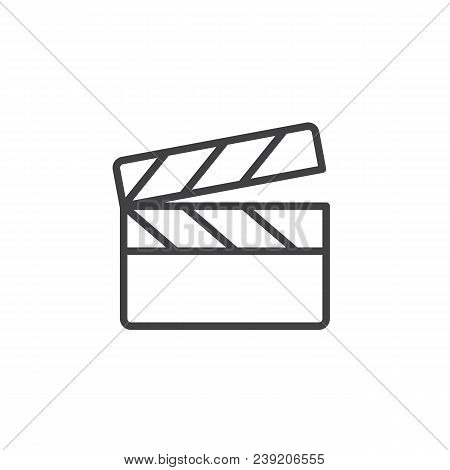 Clapperboard Outline Icon. Linear Style Sign For Mobile Concept And Web Design. Movie Clapper Board