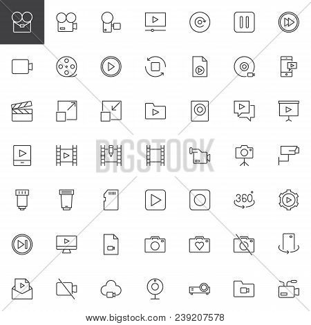 Video Universal Outline Icons Set. Linear Style Symbols Collection, Line Signs Pack. Vector Graphics