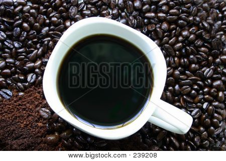 Coffee Mug Surrounded By Coffee Beans