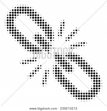 Pixelated Black Break Chain Link Icon. Vector Halftone Pattern Of Break Chain Link Symbol Done With