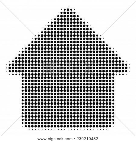 Pixelated Black Cabin Icon. Vector Halftone Composition Of Cabin Pictogram Composed From Round Dots.