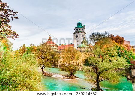 Munich, Germany - Autumn View Of Isar River With The Neo-baroque Muellersches Volksbad