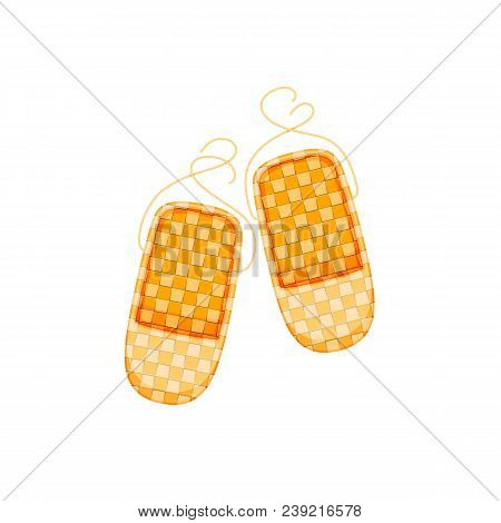 Russian Culture, Landmarks And Symbols. Old Traditional Wicker Bast Shoes.